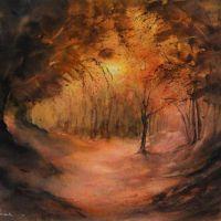 Forêt d'Or - Aquarelle - Joëlle Thirion