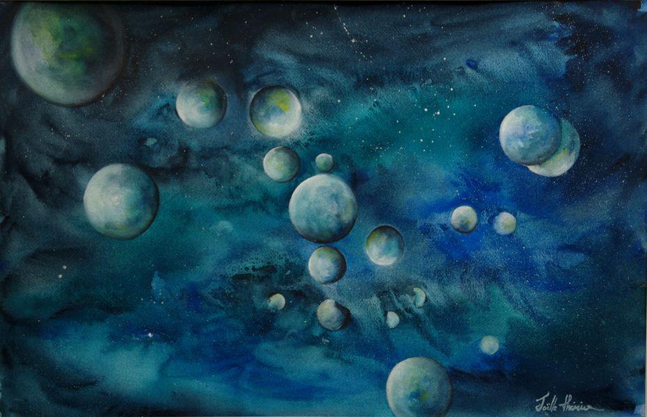 """Aquarelle """"Sur une autre planète..."""" - Joëlle Thirion"""
