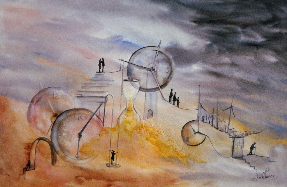 """Aquarelle """"Les Portes du Temps"""" - Joëlle Thirion"""