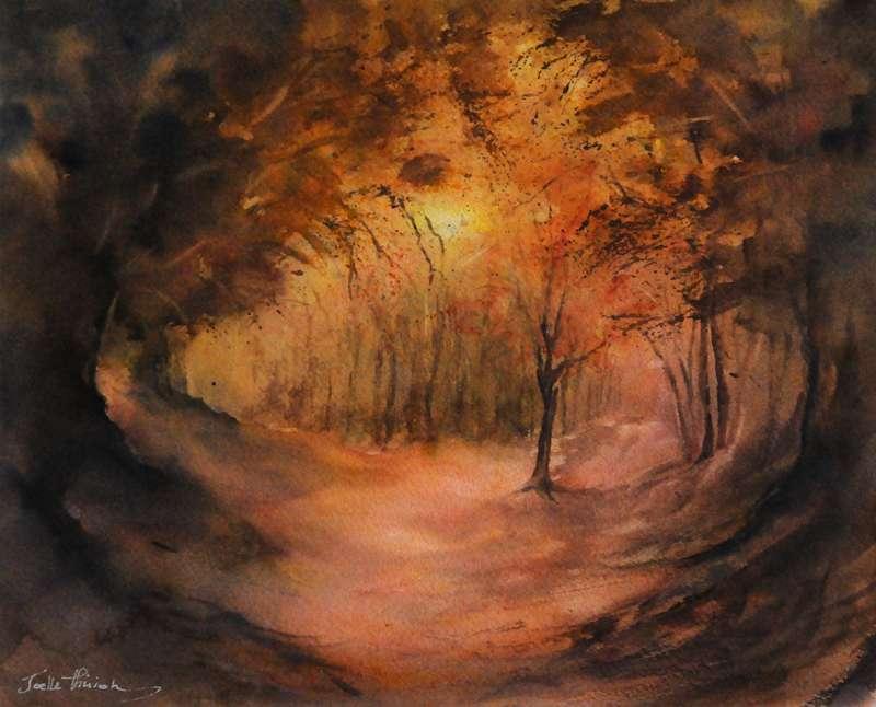 Aquarelle d'automne J.T. 2017 - Forêt d'or