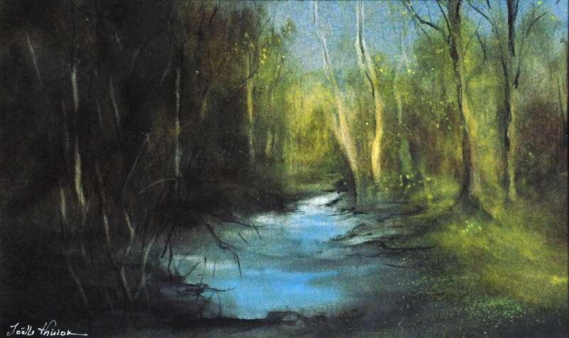 De la matière et un bleu léger pour cette aquarelle